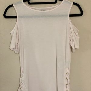 GUESS White Cold Shoulder Top with Lace Detailing